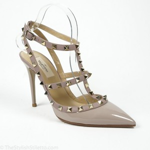 Valentino Nude Rockstud 100mm 38/7.5 Patent Leather Ankle Strap Pumps Size US 7.5 Regular (M, B)