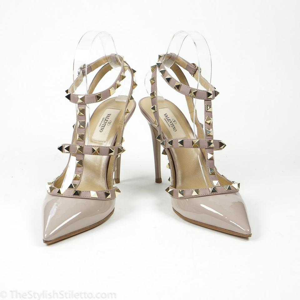 2c2e8106bcd Valentino Nude Rockstud 100mm 38 7.5 Patent Leather Ankle Strap Pumps Size  US 7.5 Regular. 12345678