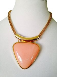 2 B Rych Polished Peach Resin In Gold-Tone Statement Necklace