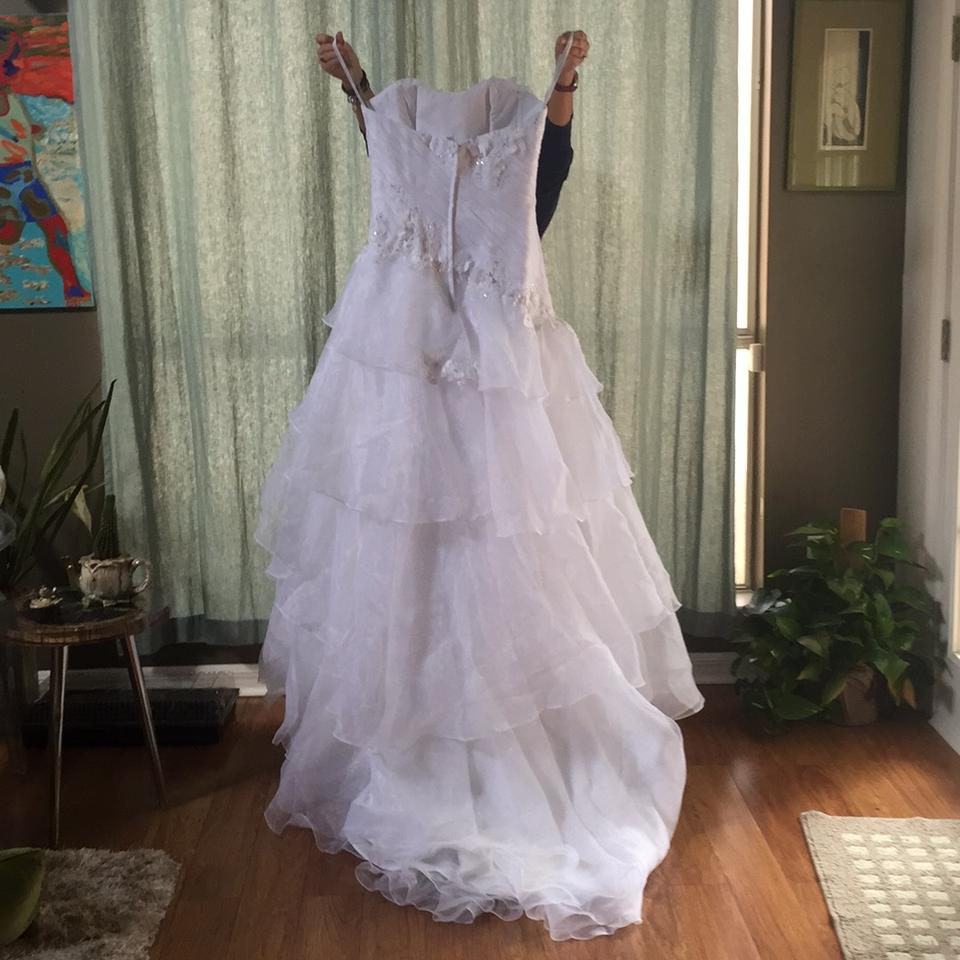 Alfred Angelo White 2310 Modern Wedding Dress Size 8 (M