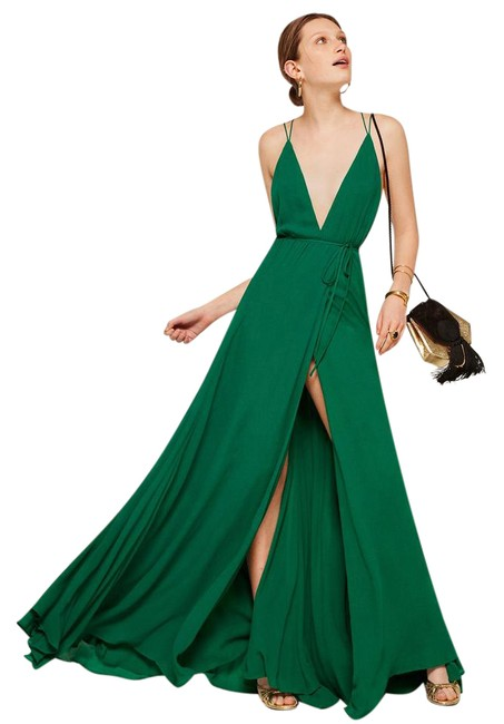 Item - Green New Tags Silk Maxi Party Formal Long Cocktail Dress Size 2 (XS)