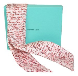 "Tiffany & Co. Authentic Tiffany & Co. Red Small ""5th Avenue NY"" Ribbon Scarf"