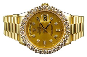 Rolex 18K Mens Yellow Gold Presidential Day-Date 36MM Diamond Watch 5.5 Ct