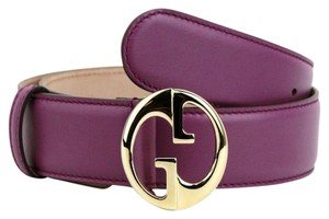 Gucci Purple Leather Belt w/Gold Interlocking G Buckle 80/32 362728 5526