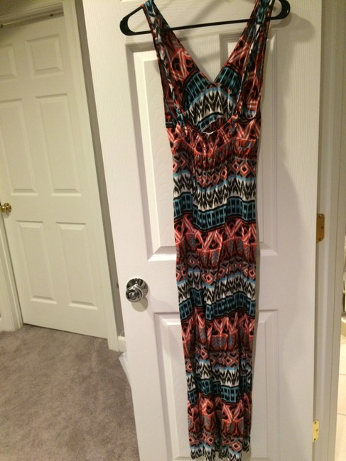 Orange, black, white, & turquoise Maxi Dress by South Moon Under Halter Aztec Pattern Maxi