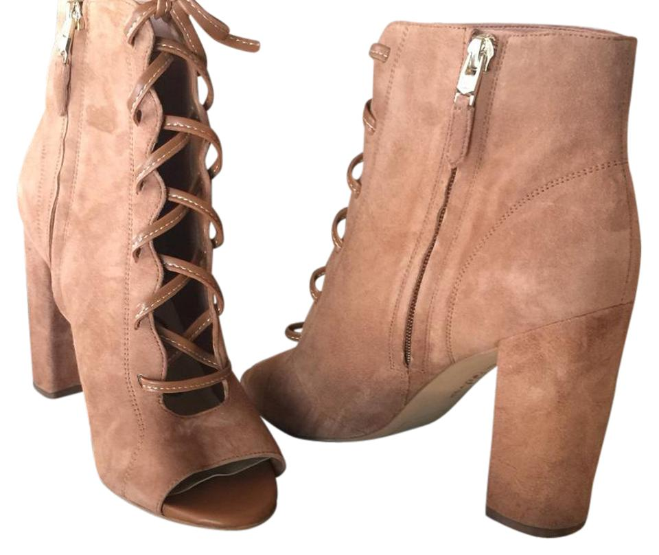 Sam Saddle Edelman Brown/Camel Yvie In Saddle Sam Suede Open Boots/Booties bfc4c7