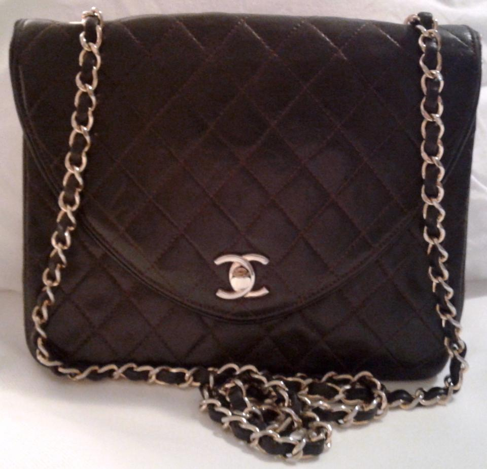 260908cba6de Chanel Classic Flap Vintage Reverse Cc Logo Quilted Square Medium M Dark  Brown Lambskin Leather Shoulder Bag