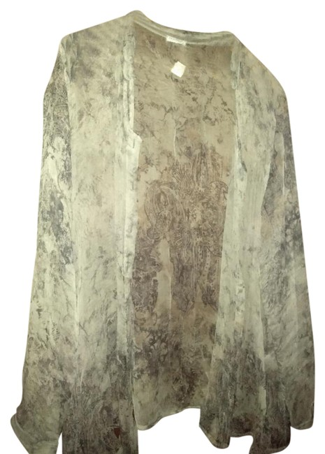 Item - Sheer Grey Blue Made In Italy Print Blouse Size 12 (L)