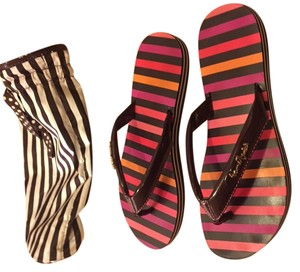 Henri Bendel Brown, Pink Sandals