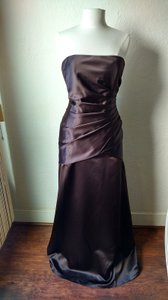 Impression Bridal Chocolate Satin Style #1700 Formal Bridesmaid/Mob Dress Size 12 (L)