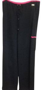 St. John Santanna Knit Drawstring Set Pink Trouser Pants Black