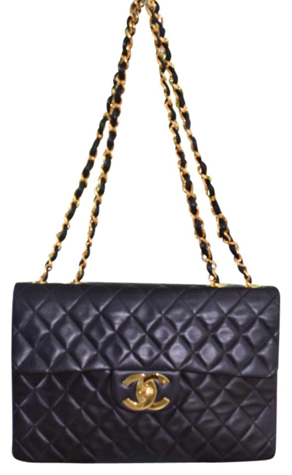 7a98c3aace7be2 Chanel 2.55 Reissue XL Vintage Jumbo Classic Single Flap Timeless Maxi Cc  Black Lambskin Leather Shoulder Bag