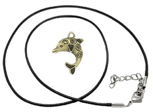 Unknown 1 Set Bronze Tone Dolphin Cute Charm Pendant with Lobster Clasp Black Wax Cord Necklace