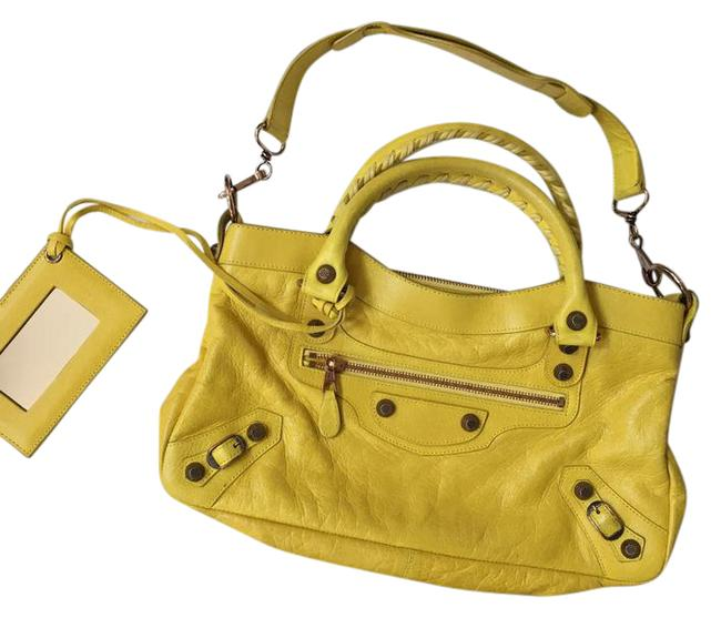 Item - Small Rose Gold City Mimosa Yellow Lambskin Leather Shoulder Bag