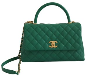 597942c70316 Chanel Coco Handle Green Caviar Leather Baguette - Tradesy