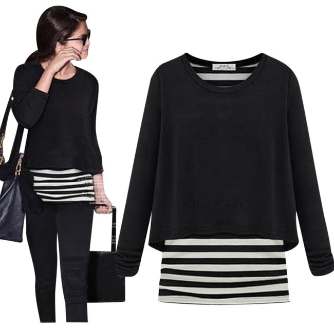 Preload https://item4.tradesy.com/images/black-and-white-celeb-style-b-and-w-striped-t-shirt-tee-shirt-size-6-s-2186483-0-0.jpg?width=400&height=650