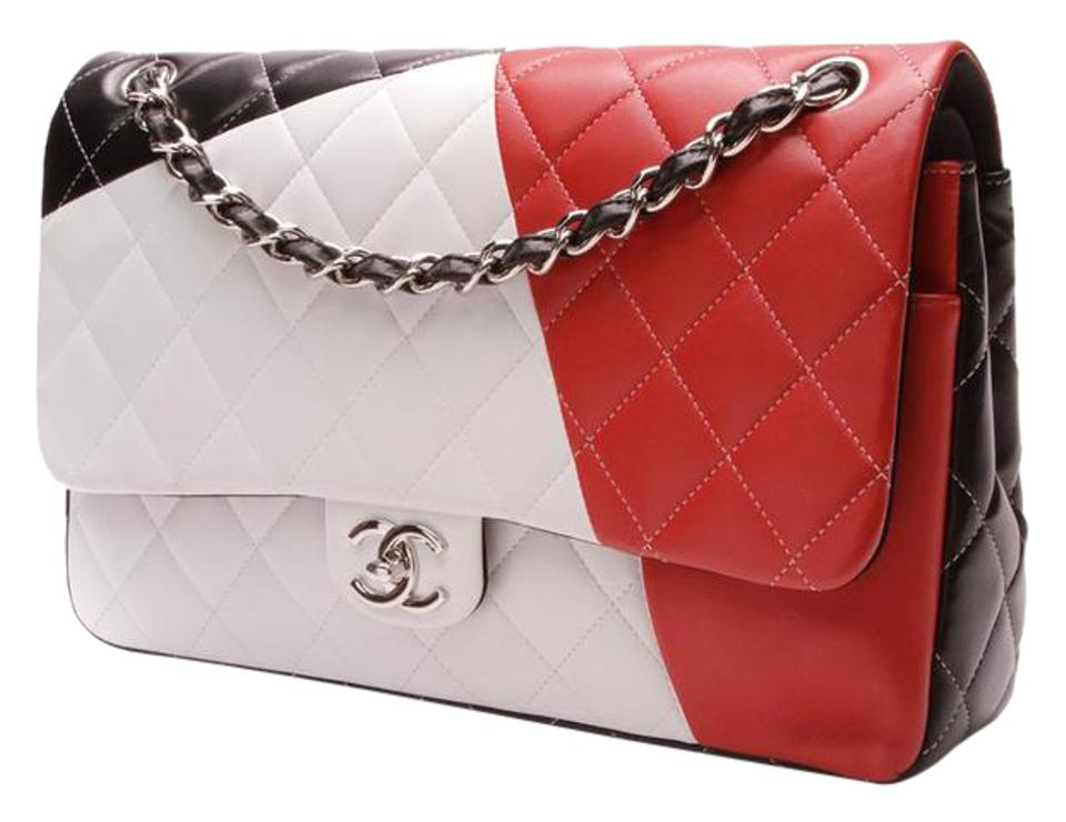 80327aa6585e45 Chanel Classic Flap Tri-color Quilted Classic Jumbo Double Black/Red/White  Lambskin Leather Shoulder Bag