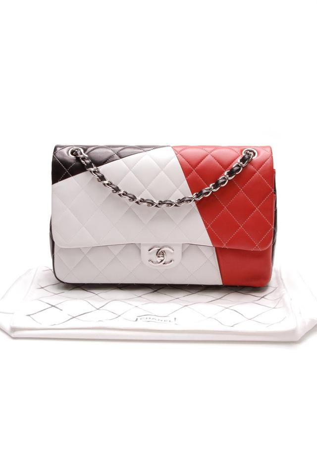 56fd60711b88e1 Chanel Classic Flap Tri-color Quilted Classic Jumbo Double Black/Red ...