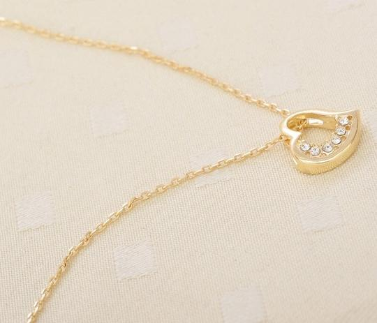 Other 9k Yellow Gold Filled Heart Pendant Necklace with Crystals