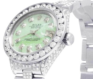 Rolex Datejust Oyster 26MM Green MOP Dial Iced Out Diamond Watch 10.5 Ct