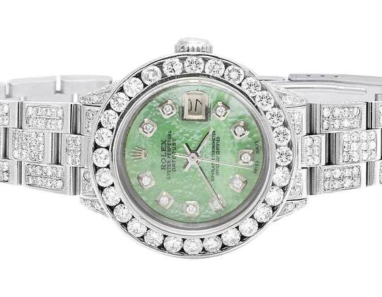 Rolex Datejust Oyster 26MM Green MOP Dial Iced Out Diamond Watch 10.5 Ct Image 1