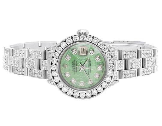 Rolex Datejust Oyster 26MM Green MOP Dial Iced Out Diamond Watch 10.5 Ct Image 2