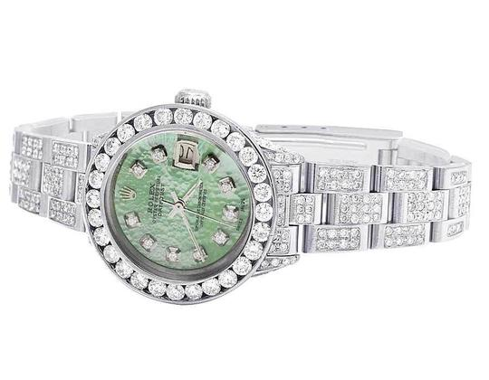 Rolex Datejust Oyster 26MM Green MOP Dial Iced Out Diamond Watch 10.5 Ct Image 3