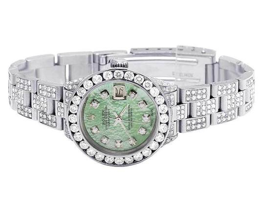 Rolex Datejust Oyster 26MM Green MOP Dial Iced Out Diamond Watch 10.5 Ct Image 7
