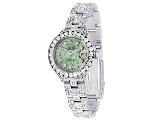 Rolex Datejust Oyster 26MM Green MOP Dial Iced Out Diamond Watch 10.5 Ct Image 8