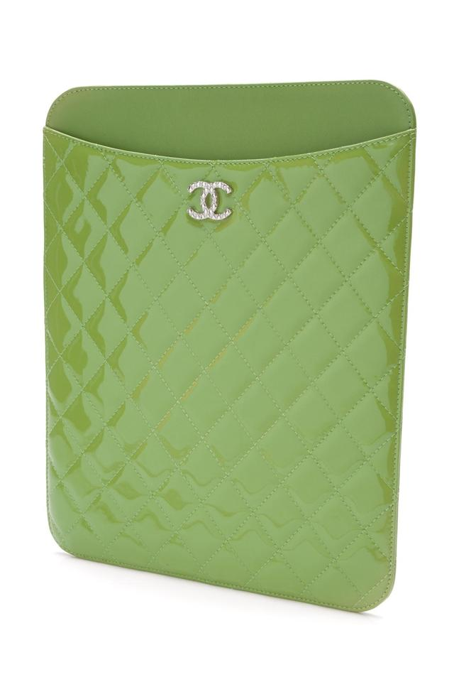 907415793700 Chanel Bright Green Quilted Patent Leather Ipad Cover Tech Accessory ...