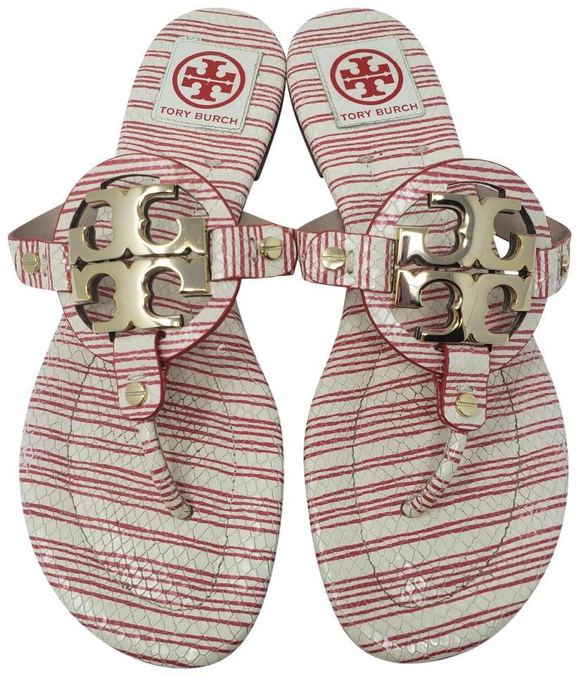 e3bc8680a Tory Burch White Red Gold Creme Embossed Leather Miller Slide ...
