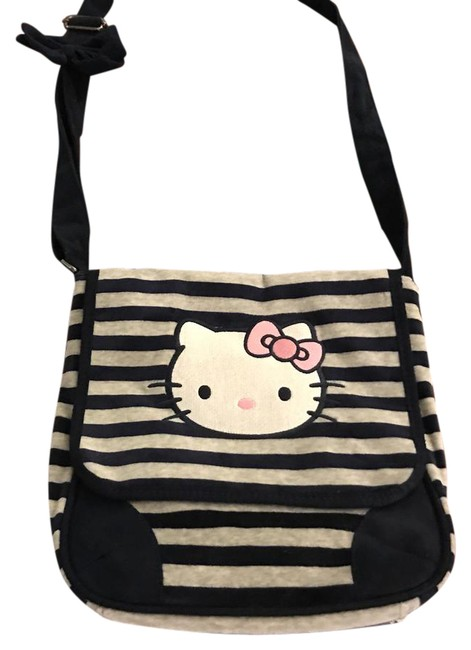 Item - Victoria Couture Purse Sanrio Rare Multi Blue & Grey Stripes Mixed Suede Trimmings Onto Terry Cloth Cross Body Bag