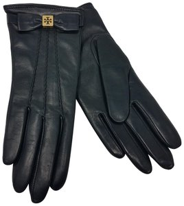 Tory Burch Black leather Tory Burch gold-tone logo bow gloves