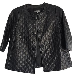 Vince 3/4 Sleeve Quilted Leather Black Jacket