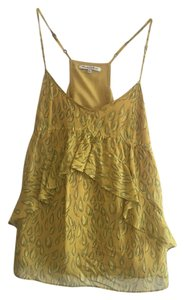 Broadway & Broome Feather Pattern Pattern Top Yellow and Grey