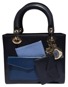 Dior Tote in Tri Color: Black Blue Jade