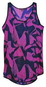 Forever 21 Silk Satin Abstract Print Top Purple, Navy