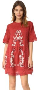 Free People short dress red Short Sleeve Cotton Embroidered Lace Crochet on Tradesy