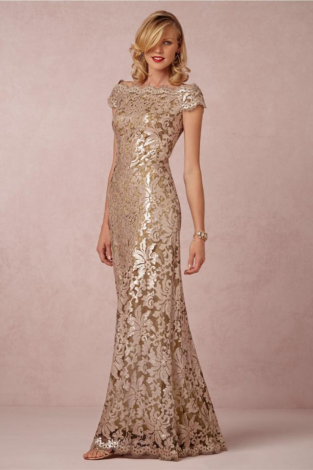 Tadashi Shoji Ginseng /Rose Gold All Over Sequined Flower Pattern ...