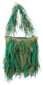 Prada Fringe Handle Olive Suede Green Clutch