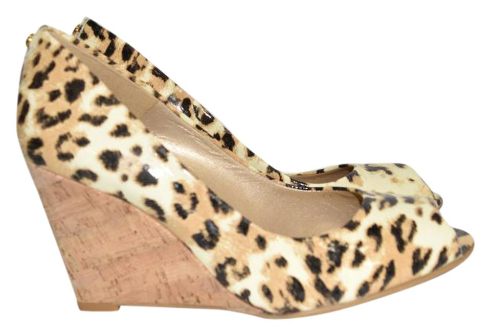 Stuart Weitzman Animal Print Platform Peep Toe Cork Wedge Platform Print Pumps 40a3f6