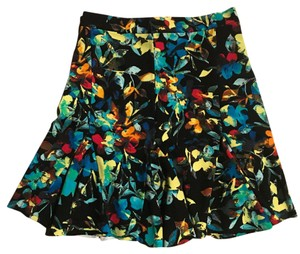 Parker Mini Skirt black with yellow blue and orange flower pattern