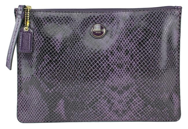 Item - Purple Signature Snake Embossed Leather Medium Kindle Universal Pouch 66413 Tech Accessory