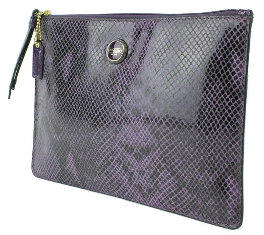 Coach Coach Signature Purple Snake Embossed Leather Medium Tech Kindle Universal Pouch 66413