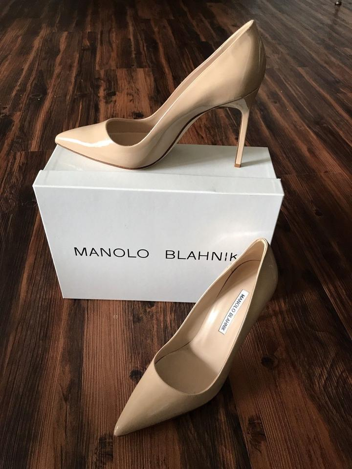 manolo blahnik new bb 105 nude patent leather 38 5 black. Black Bedroom Furniture Sets. Home Design Ideas