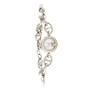 24dea62745646 Gucci Silver Stainless Steel 107 Charm Bracelet Watch 42% off retail