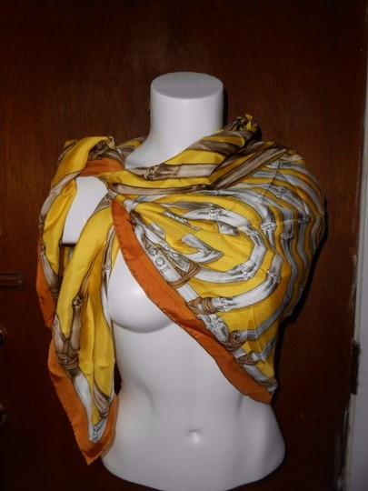 Gucci Gucci Bamboo Silk Scarf Yellow Colorway Large 42 Inches Square Image 1