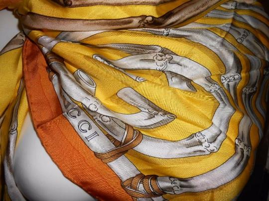 Gucci Gucci Bamboo Silk Scarf Yellow Colorway Large 42 Inches Square Image 3