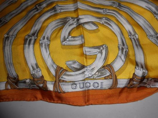Gucci Gucci Bamboo Silk Scarf Yellow Colorway Large 42 Inches Square Image 6