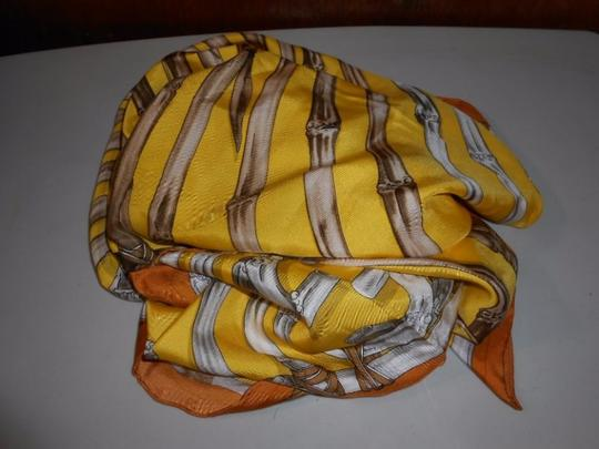 Gucci Gucci Bamboo Silk Scarf Yellow Colorway Large 42 Inches Square Image 7